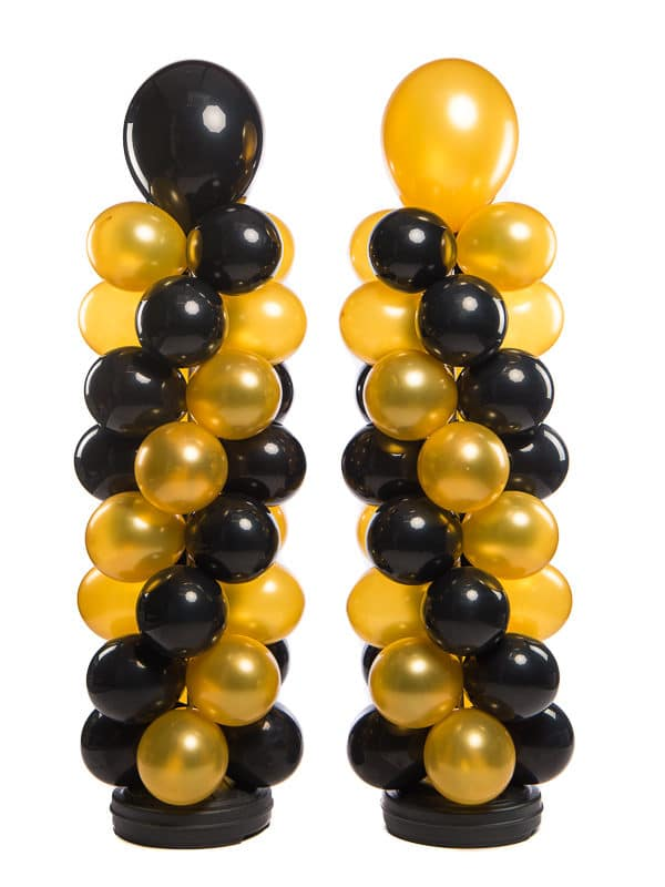 webshop 2 ballonpilaren 160 cm plus topballon 40 cm totaal 200 cm patroon slingerend naar elkaar toe voor ingang 600x800 - Standaard Ballonpilaar