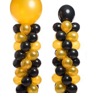 webshop ballonpilaar 160 cm plus topballon 40 cm totaal 200 cm patroon slingerend met verschil hoogte topballon 90 cm totaal 250 cm hoog 300x300 - Bedrijfsfeest