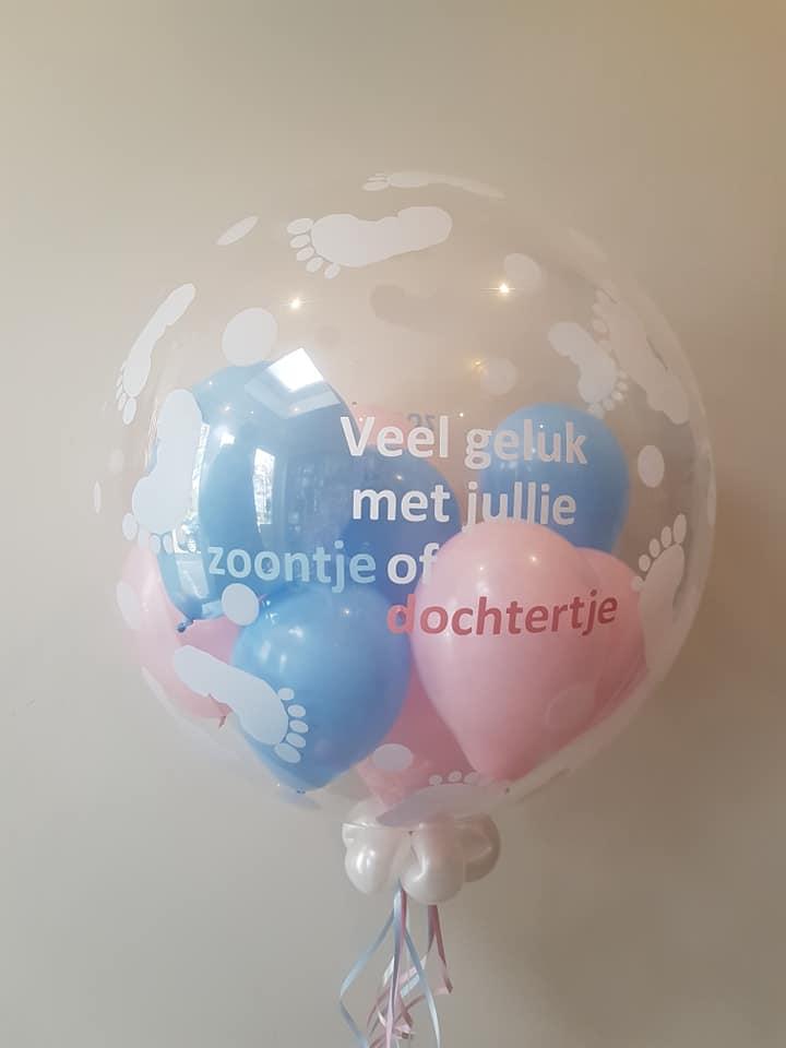 Ballon baby veel geluk met jullie meisje of jongen aankondiging 2 - Gender Reveal Party ballondecoraties