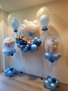 hoepel geboorte jongen ballondecoratie voor raam of aan de muur pilaar tule baby blauw organic klein 2 225x300 - Gender Reveal Party ballondecoraties